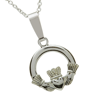 Sterling Silver Small Claddagh Pendant