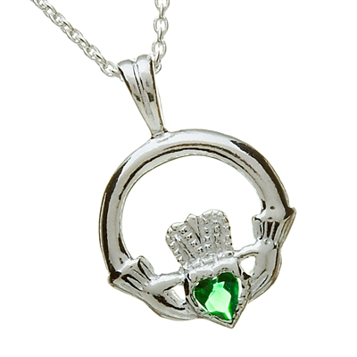 Sterling Silver With Green CZ Heart Claddagh Pendant