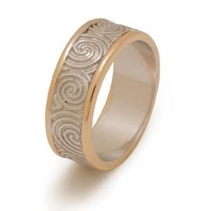 Sterling Silver 10k Yellow Gold Men S Newgrange Spirals Celtic Wedding Ring 6 9mm