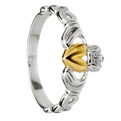 Sterling Silver Gold Plated Heart Ladies Claddagh Ring